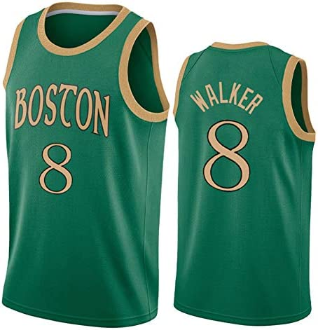 メンズバスケットボールジャージーウォーカー#8セルティックスメッシュ刺繍入りノースリーブTシャツスウィングマンジャージ