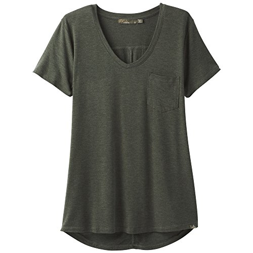 Price comparison product image prAna Foundation ss v neck Top, Forest Green Heather, Large