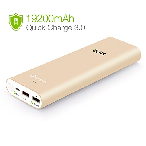 Quick Charge 3.0 iKits [Qualcomm Certified] 20000mAh Power Bank Large Capacity LG Battery Bidirectional QC3.0 Input:QC3.0, Output:2.4A+QC3.0 for Samsung LG Google Nexus iPhone/iPad & more Gold