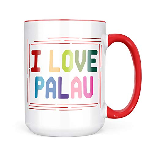 Neonblond Custom Coffee Mug I Love Palau,Colorful 15oz Personalized Name
