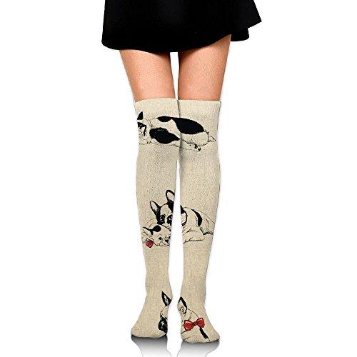 Bulldogge Womens Longtemps Au-dessus Du Genou Cuisse Haute Bas Cosplay Chaussettes Bas Blanc