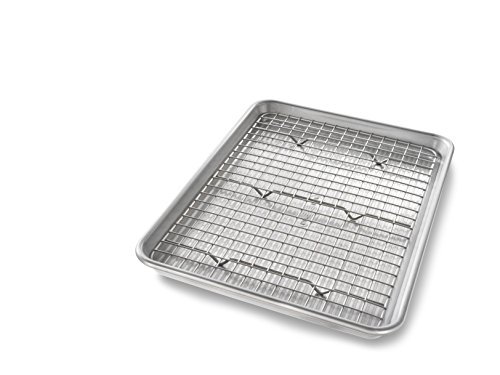 USA Pan 1604CR Quarter Sheet Baking Pan and Bakeable Nonstick Cooling Rack, Metal (Best Pan To Cook Bacon)