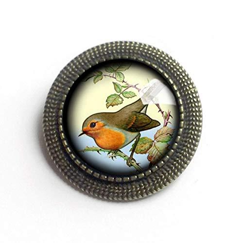 Spring Robin Glass and Brass Brooch