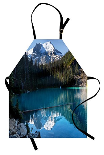 Ambesonne Landscape Apron, Lake in Northern Canada with Slim Trees and Snowy Frozen Mountain Novelty, Unisex Kitchen Bib Apron with Adjustable Neck for Cooking Baking Gardening, Blue White Green -