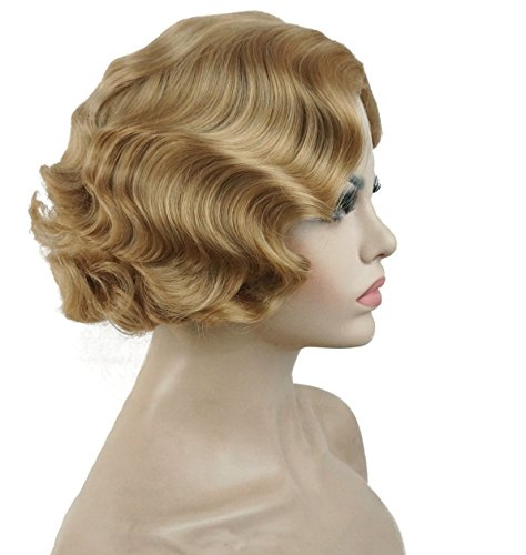 ROLECOS Marilyn Monroe Wig Womens Vintage Short Curly Flapper Wigs Party Cosplay -11 (Wig Sexy Blonde Marilyn)