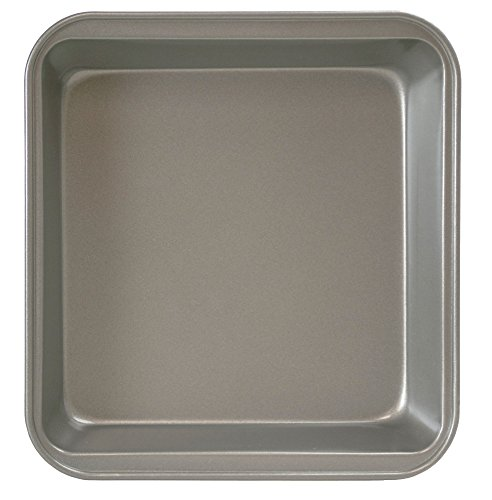 "uare Cake Baking Pan – PFOA, BPA, and PTFE Free Non-Stick Coating – Heavy Duty Carbon Steel – Dishwasher Safe – Gray – 9"" x 9"" x 2"" (Dishwasher Safe Steel Casserole)"