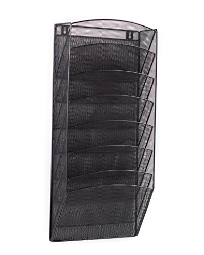- Klickpick Office 8 Sections Hanging Files Wall Mounted Metal Mesh File Document Organizer Magazine Holder Rack Organizer Racks Multipurpose Use to Display Files, Magazine, Newspapers- Black