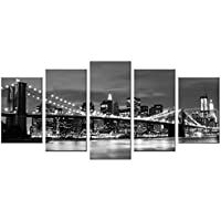Wieco Art - Broooklyn Bridge Night View 5 Panels Modern Landscape Artwork Canvas Prints Abstract Pictures Sensation to Photo Paintings on Canvas Wall Art for Home Decorations