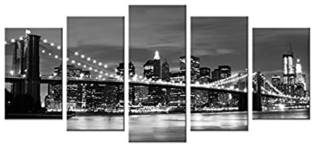 Wieco Art Brooklyn Bridge Night View 5 Panels Modern Landscape Artwork Canvas Prints Abstract Pictures Sensation to Photo Paintings on Canvas Wall Art for Home Decorations Wall Decor LEPAC8070
