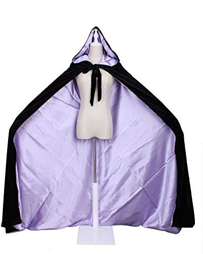 LuckyMjmy Velvet Renaissance Medieval Cloak Cape lined with Satin (Medium, Black-Lilac) -