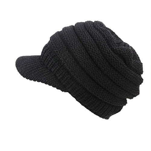 (Tpingfe Women Soft Stretch Cable Knit Messy Hat Warm Crochet Wool Ski Skull Slouchy Caps (Black))