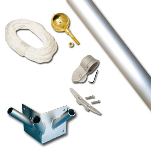 Franklin 10 Foot 1-1/2 Dia Triple Corner Set Clear Finish Flagpole