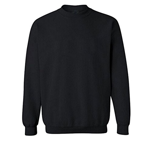 Price comparison product image Mens Fleece Sweatshirt Round Neck Solid Pullover XL Black