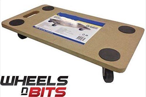 NEW 4 WHEEL TROLLLEY DOLLY FURNITURE MOVER MOVE FRIDGE CASTOR 150kg CAPACITY 360 Degree Rotation All Wheels Steer 56CM Long & 30CM Wide Wheels N Bits