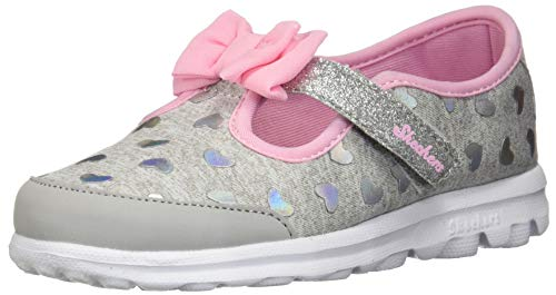Skechers Girls Heart - Skechers Kids Baby Girl's Go Walk - Bitty Heart 81162N (Infant/Toddler/Little Kid) Gray/Pink 5 M US Toddler