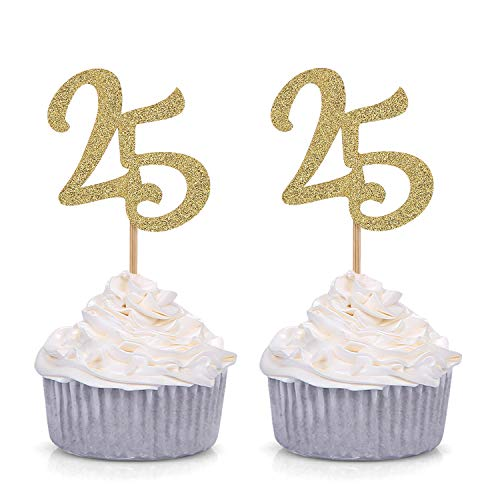 Set of 24 Gold Glitter Number 25 Cupcake Toppers 25th Birthday Celebrating Handcrafted Party Decors