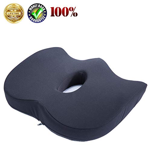 Uhealer Premium Comfort Seat Cushion Non-Slip Orthopedic Memory Foam Coccyx Cushion for Tailbone Pain Cushion for Office Chair Car Seat Back Pain Sciatica Relief (Best Office Chair For Poor Leg Circulation)