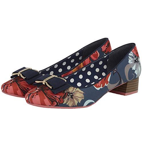 June uk Ruby Shoes Bow preso Vegan Ladies Shoo Heeled Friendly 09283 Low 42 Floral Navy 9 qqn7UwEr