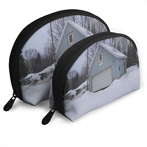 Fleavmei Barn In The Snow Soft Blue Farmhouse 2 Pcs Shell Makeup Storage Cosmetic Bags Travel Waterproof Toiletry Organizer For Women
