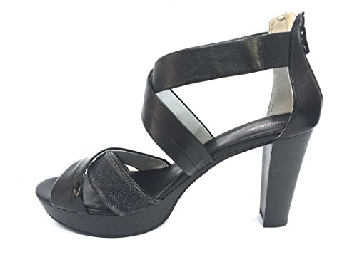 17551 NERO Scarpa donna sandalo tacco Nero Giardini pelle made in italy