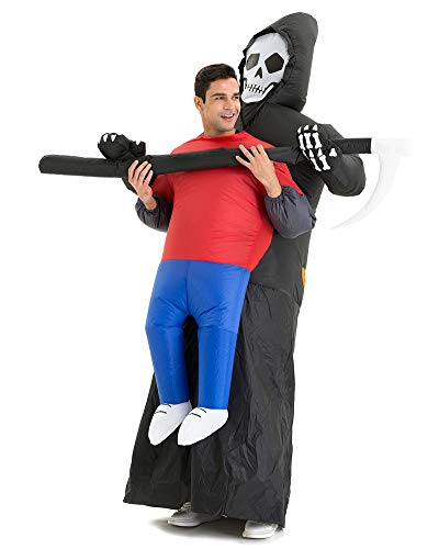 Hsctek Carrying Me Costume, Inflatable Grim Reaper Abduction Costume, Blow Up Costumes, Halloween Costume for Men ()