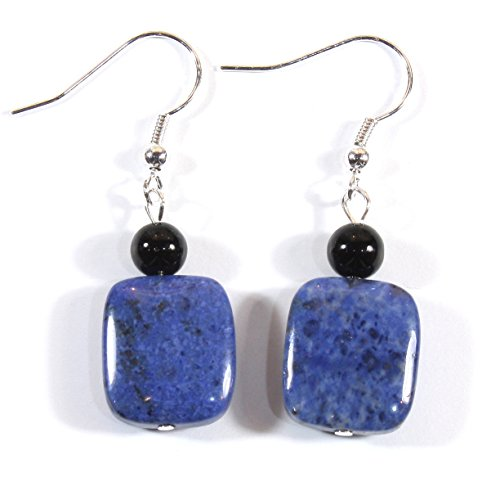 ARThouse Denim Girl Natural Blue Dumortierite Earrings; Dangle 1.5 Inches