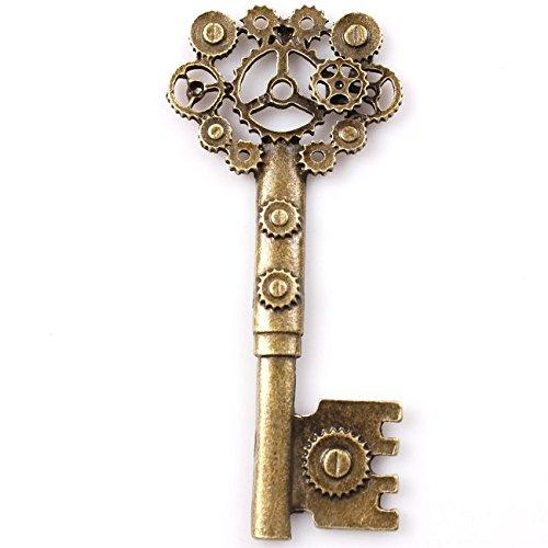 [Hollow Gear Keys Bronze Tone Alloy Pendants Trendy New Charms Fit Jewelry (71*32*3mm) !!] (Vintage Costume Jewelry Lot)