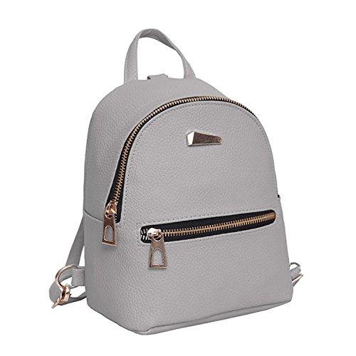 Ladies Girls Casual Travel Bag Women Pu Leather Mini Backpack College Shoulder Rucksack Gray