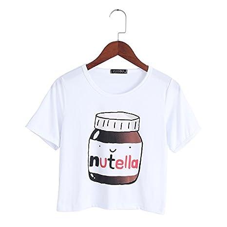 JAGENIE - Camiseta de Manga Corta para Mujer con Estampado de Nutella Kawaii Tops: Amazon.es: Hogar