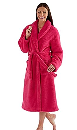 Ladies Fleece Dressing Gown Luxury Robe Navy Blue Pink Purple ...