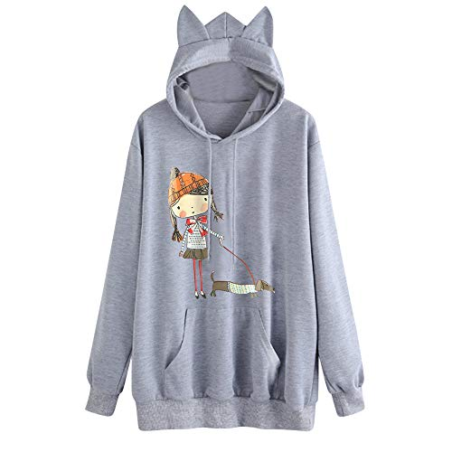 Willow S Women Fashion Sport Casual Cute Print Cat Ear Hooded Long Sleeves Pocket Irregular Loose Top Blouse Hoodies