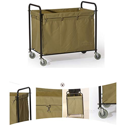 Hotel Cart, Carbon Steel Thick Linen car Hotel Hotel Room Cleaning Hand Push Work car by HT trolley (Image #1)