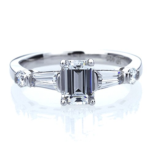 Baguette Cut Engagement Ring - Double Accent Platinum Plated Sterling Silver 1ct Emerald Cut CZ with Baguette Wedding Engagement Ring (Size 5 to 9), 7