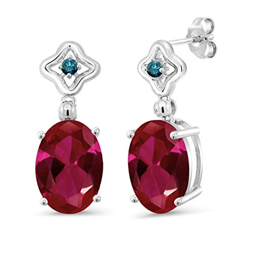 Gem Stone King 6.13 Ct Oval Red Created Ruby Blue Diamond 925 Sterling Silver Earrings ()
