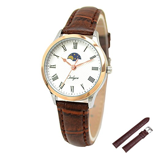 ONLYOU Ladies Dress Watch Roman Numeral Waterproof Analog Display Quartz with Brown Leather Watch Strap