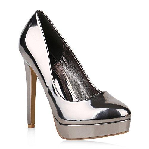 Stiefelparadies Damen Plateau Pumps Stiletto High Heels Lack Party Abendschuhe Flandell Grau Metallic