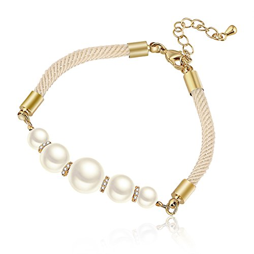 D EXCEED Gift Idea Gold Tone Clear CZ Crystal Roundel Simulated Ivory Pearl IWhite Strand Bracelet for Women and Ladies 7