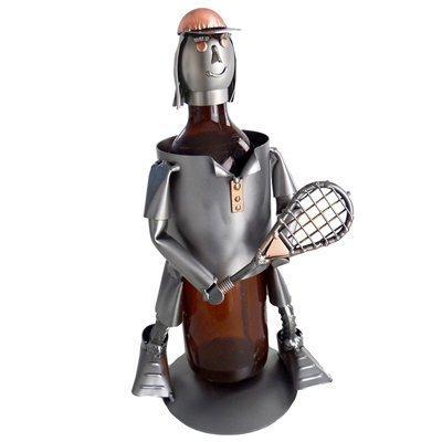 Tennis, Female, Wine Bottle Holder H&K Steel Sculpture by H & K Caddies