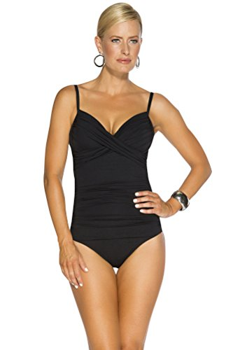 TOGS Black Crossover One Piece Swimsuit Size 14 by TOGS