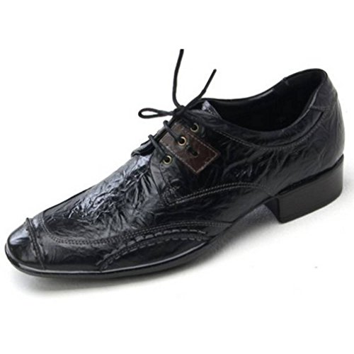 EpicStep Mens Stylish Genuine Leather Dress Formal Business Casual Lace Up Shoes Oxfords Loafers Black
