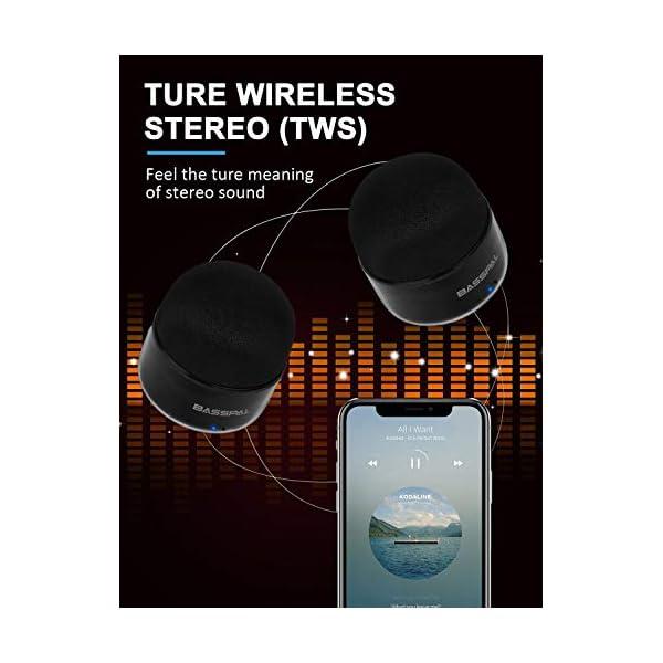 Enceinte Bluetooth Portables, BassPal Petit Haut-Parleur sans Fil avec Radio, Étanche IPX5, HD Stéréo Son et Basses Améliorées, Mini Format de Poche pour Douche de Voyage à Domicile Pool - 2 Pack 2