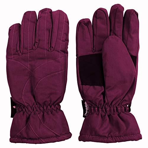 Urban Boundaries Womens/Girls Warm Winter Waterproof Thinsulate Snow Gloves (Maroon, Medium)