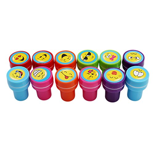 UNKE 12Pcs Kids Cute Cartoon Seal Stamps Animal Fruit Face Inking Scrapbooking Gifts ,Expression Section