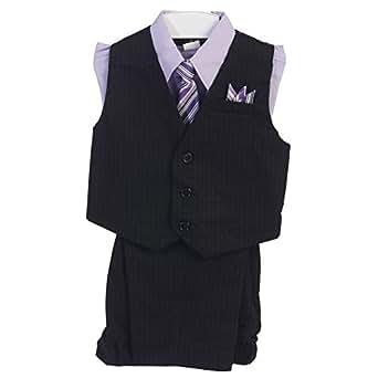 Angels Garment Little Boys Lilac 4 Piece Pin Striped Vest Set Suit 6