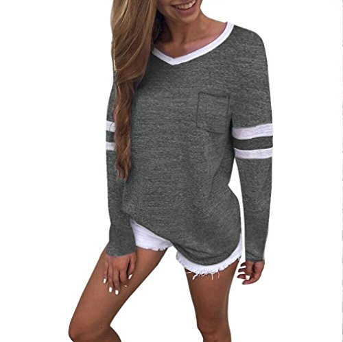 ABCone-Donna Pullover Felpe Tasca con Scollo a V T-Shirt Maniche Lunghe Elegante Autunno Camicette Camicie Casual Tops Verde