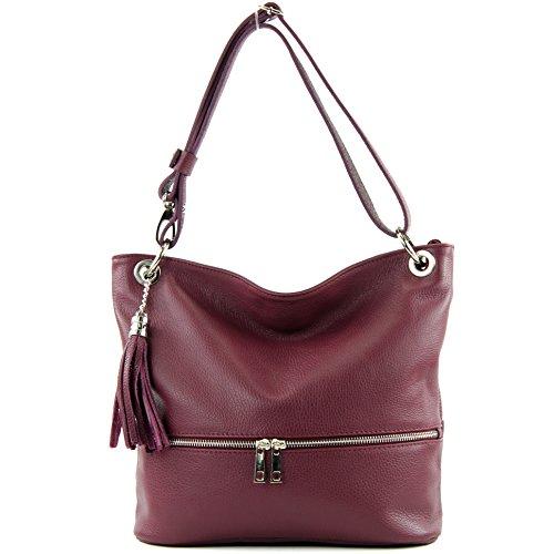 cuero del señoras T143 bolso del de hombro ital del cuero de bolso bolso de bolso Bordeauxviolett de de modamoda TEFw0nqYCF