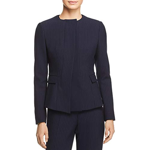 Hugo Boss BOSS Womens Jadela Pinstripe Office Suit Jacket Navy 6