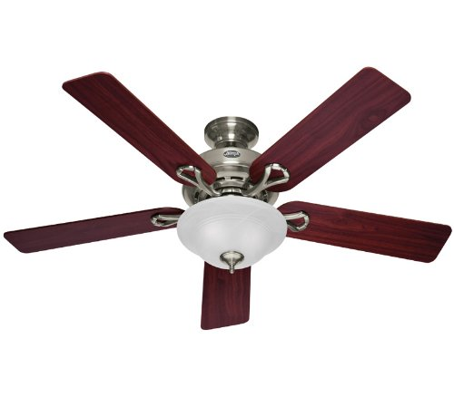 Hunter 53047 The Kensington 52-Inch Brushed Nickel Ceiling Fan with Five Cherry/Maple Blades and Bowl Light Kit (One Light Bowl Kit)