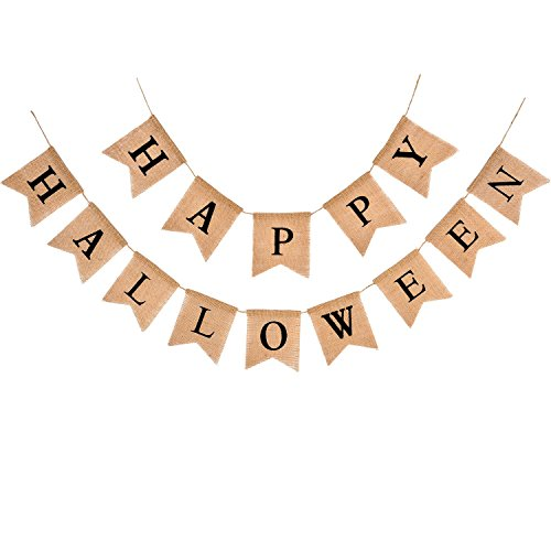 Chengu Halloween Burlap Banner Party Banner Ornaments for Halloween Decoration Supplies]()