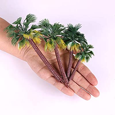 Ymeibe 16Pcs Green Palm Model Trees Plastic Artificial